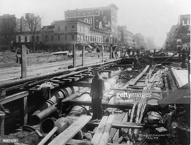 Photograph of Cut and Cover Construction of the First ART Subway at 125th Street and Lenox Avenue in Manhattan New York City April 26th 1904