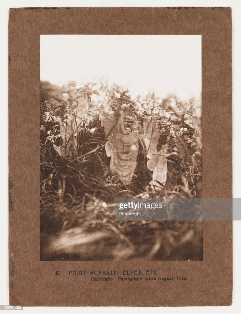 A photograph of fairies and elves taken by Frances Griffiths Sprites from the fairy kingdom pose amongst the grasses by Cottingley Beck West...
