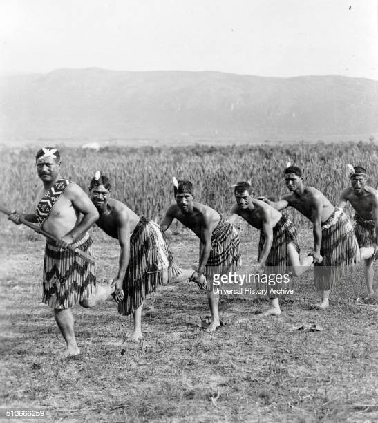 Photograph of five Maori men posing in traditional clothing performing the Haka dance Haka is a traditional ancestral war cry dance or challenge from...