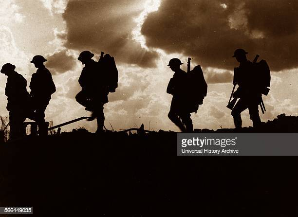 Photograph of Five Soldiers silhouetted against the sky at the Battle of Broodseinde The Battle of Broodseinde was fought near Ypres in Flanders at...