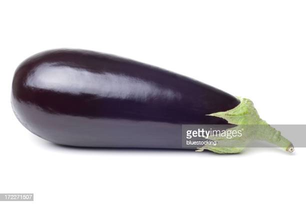 Photograph of fresh single eggplant on a white background