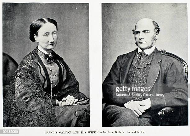 Photograph of Galton and his wife Louisa Jane Galton was an English scientist and cousin of Charles Darwin His work covered the areas of meterology...