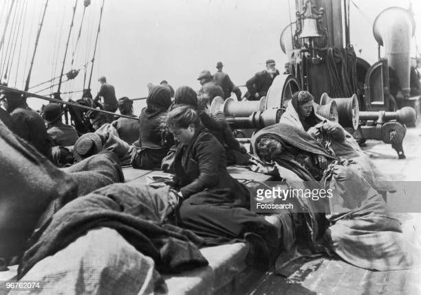 A Photograph of Immigrants aboard the SS Pennland heading to Ellis Island circa 1888