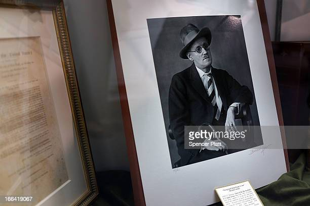 A photograph of Irish writer James Joyce by Berenice Abbott is displayed at the Park Avenue Armory which is hosting the New York Antiquarian Book...