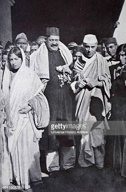 Photograph of Jawaharlal Nehru and Tassaduq Ahmad Khan Sherwani on their way to meet with Mahatma Gandhi Dated 20th Century