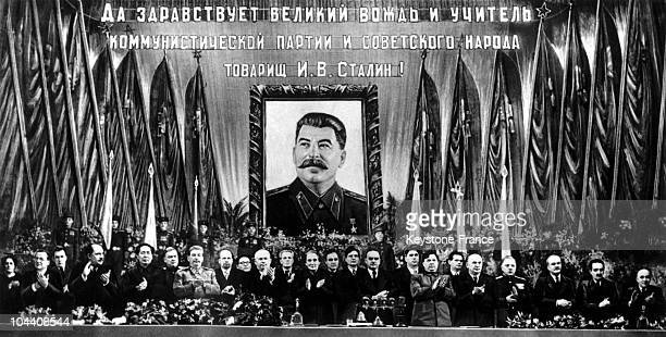 Photograph of key political figures around STALIN supreme ruler of the USSR who celebrated his 70th birthday December 21 1949 at the Bolshoi Theater...