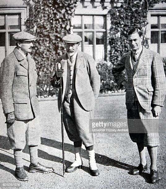 Photograph of King Boris of Bulgaria with his Cousin King George V and the Duke of York at Sandringham Dated 20th Century