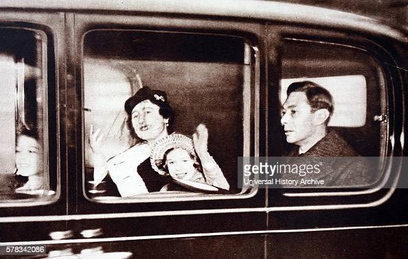 Photograph of King George VI Queen Elizabeth Queen Mother Princess Elizabeth and Princess Margaret leaving for their Christmas break in Sandringham...