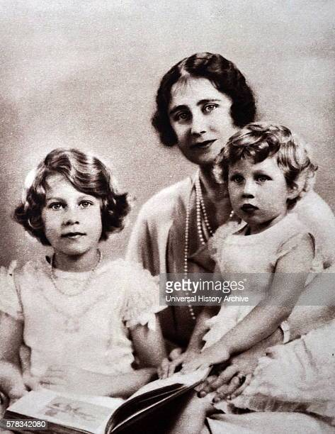Photograph of Lady Elizabeth with Princess Elizabeth and Princess Margaret during a visit to the Lord Roberts' Memorial Workshop for Disabled...