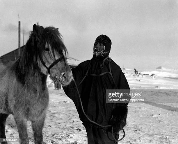 A photograph of Patrick Keohane with the pony Jimmy Pigg at Cape Evans taken during the last tragic voyage to Antarctica by Captain Robert Falcon...