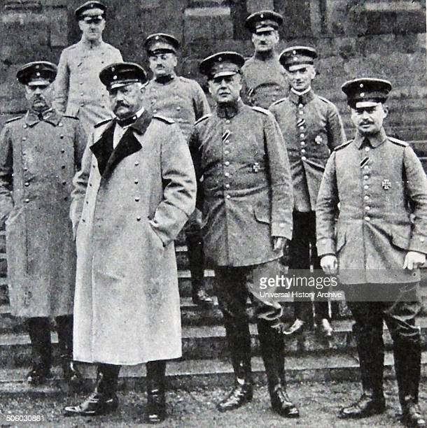 Photograph of Paul Von Hindenburg and the German General staff Dated 1914