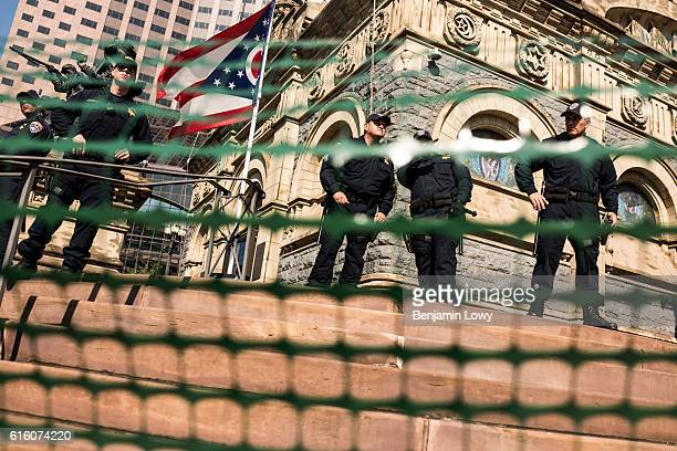 Photograph of police protestors and supporters outside the Republican National Convention in Cleveland Ohio on Tuesday July 19 2016