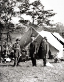 Photograph of President Abraham Lincoln Major General John A McClernand and Allan Pinkerton the chief of the Secret Service at the site of the Battle...