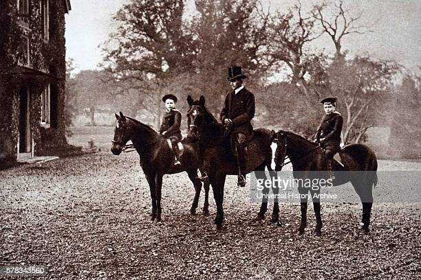 Photograph of Prince Albert Frederick Arthur George and Prince George Duke of Kent riding in Windsor Park Dated 20th Century