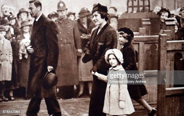 Photograph of Prince Albert Frederick Arthur George Lady Elizabeth Princess Elizabeth and Princess Margaret leaving Eastbourne Parish Church Dated...