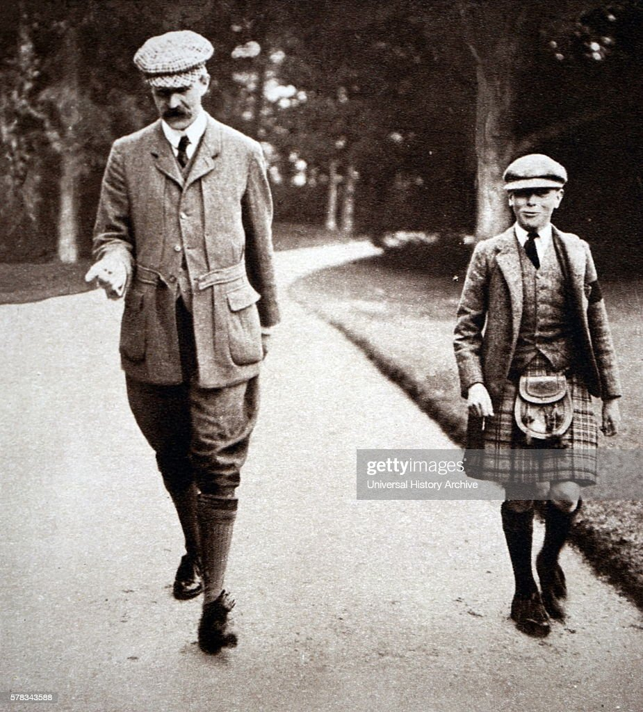Photograph of Prince Albert Frederick Arthur George with his tutor at Balmoral Castle Scotland Dated 20th Century
