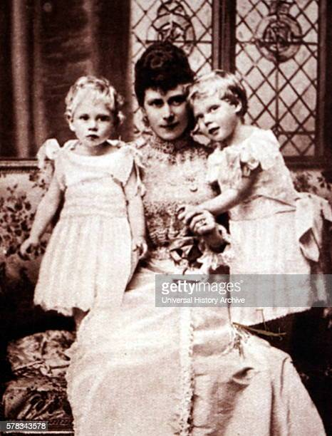 Photograph of Queen Mary of Teck The Duchess of York with her sons Prince Albert Frederick Arthur George and Prince George Duke of Kent Dated 19th...