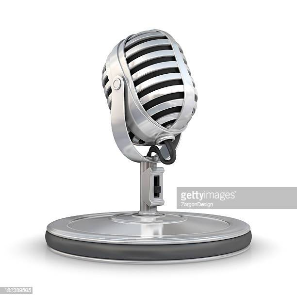 Photograph of silver microphone graphic