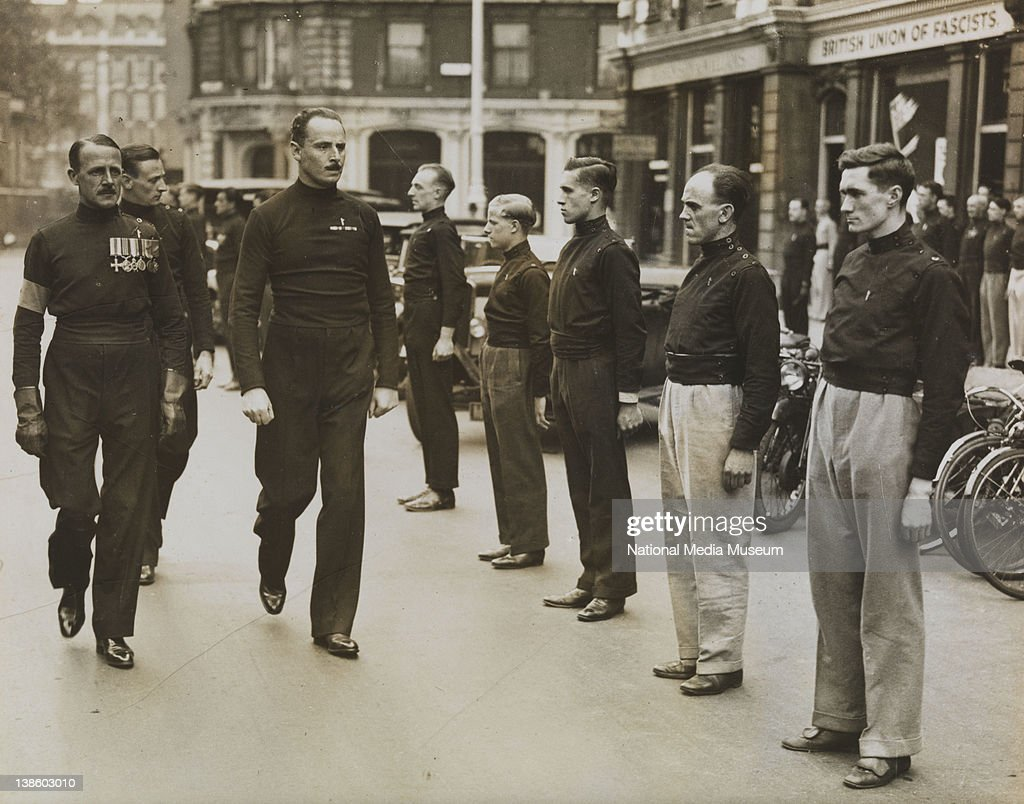 Sir Oswald Mosley passing down the ranks of his Blackshirts, 1933 ...