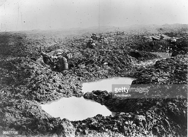 A Photograph of Soldiers in the Trenches during the Battle of Passchendaele on November 1 1917