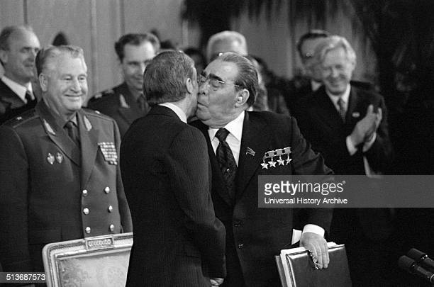 Photograph of Soviet Leader Leonid Brezhnev kissing the cheek of United States President Jimmy Carter Dated 1979
