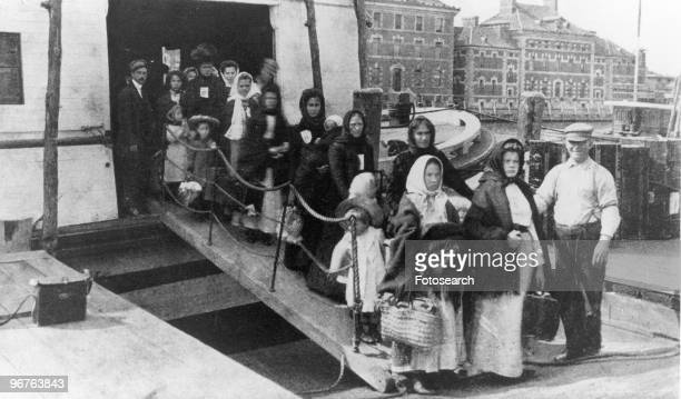 A Photograph of the Arrival of Immigrants to Ellis Island New York circa 1880