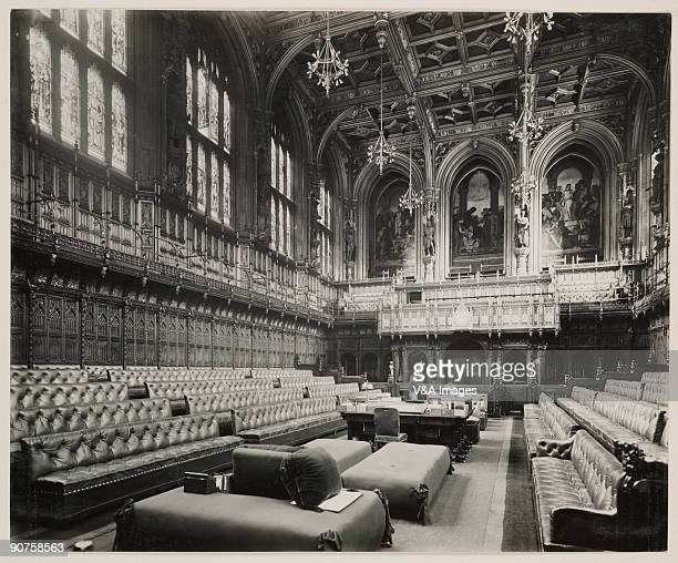 Photograph of the interior of the House of Lords by Harry Bedford Lemere