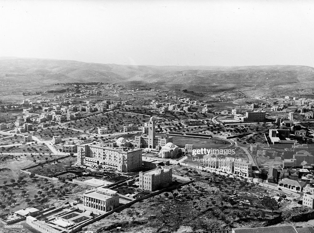Photograph of the Jerusalem YMCA King David Hotel the French Consulate General and Jesuit Seminary Dated 1936