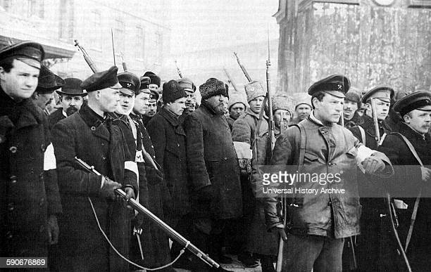 Photograph of the patrol of the October Revolution The revolution was led by the Bolsheviks who used their influence in the Petrograd Soviet to...