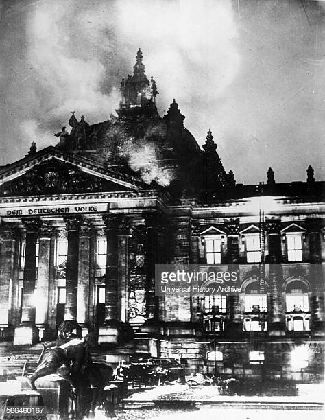 Photograph of The Reichstag building on Fire Berlin Germany Dated 1933