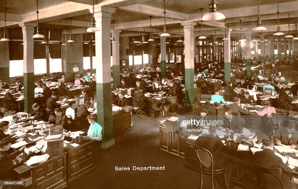 Photograph of the sales department or sales floor at a large company 1914 Handcolored photograph