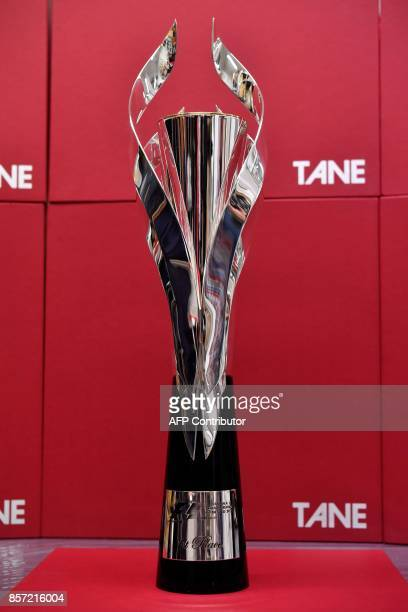 Photograph of the silver trophy for the Formula 1 winner during its presentation by the manufacturer's house in Mexico City on October 3 2017 Casa...