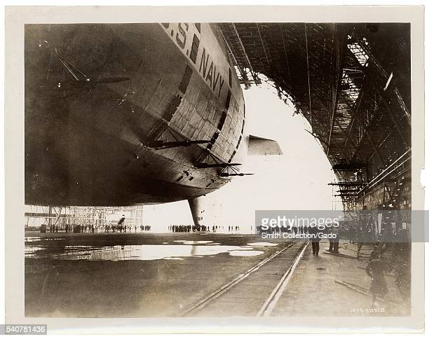 Photograph of the USS Akron in the GoodyearZeppelin Dock 1933 Image courtesy National Archives