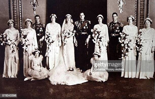 Photograph of the wedding of Prince George Duke of Kent and Princess Marina of Greece and Denmark Also pictured is Prince Albert Frederick Arthur...