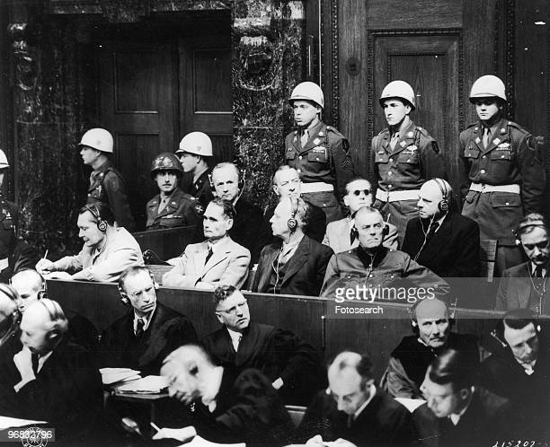 A Photograph of Top Nazi Leaders on Trial in the Palace of Justice in Nuremberg Germany Left to Right Front Row Hermann Goering Rudolf Hess Joachim...