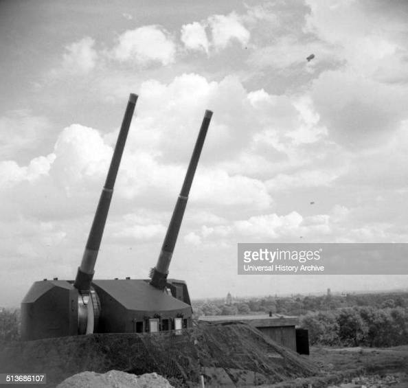 Photograph of twin 525inch guns of an antiaircraft battery at Primrose Hill in London Dated 1943