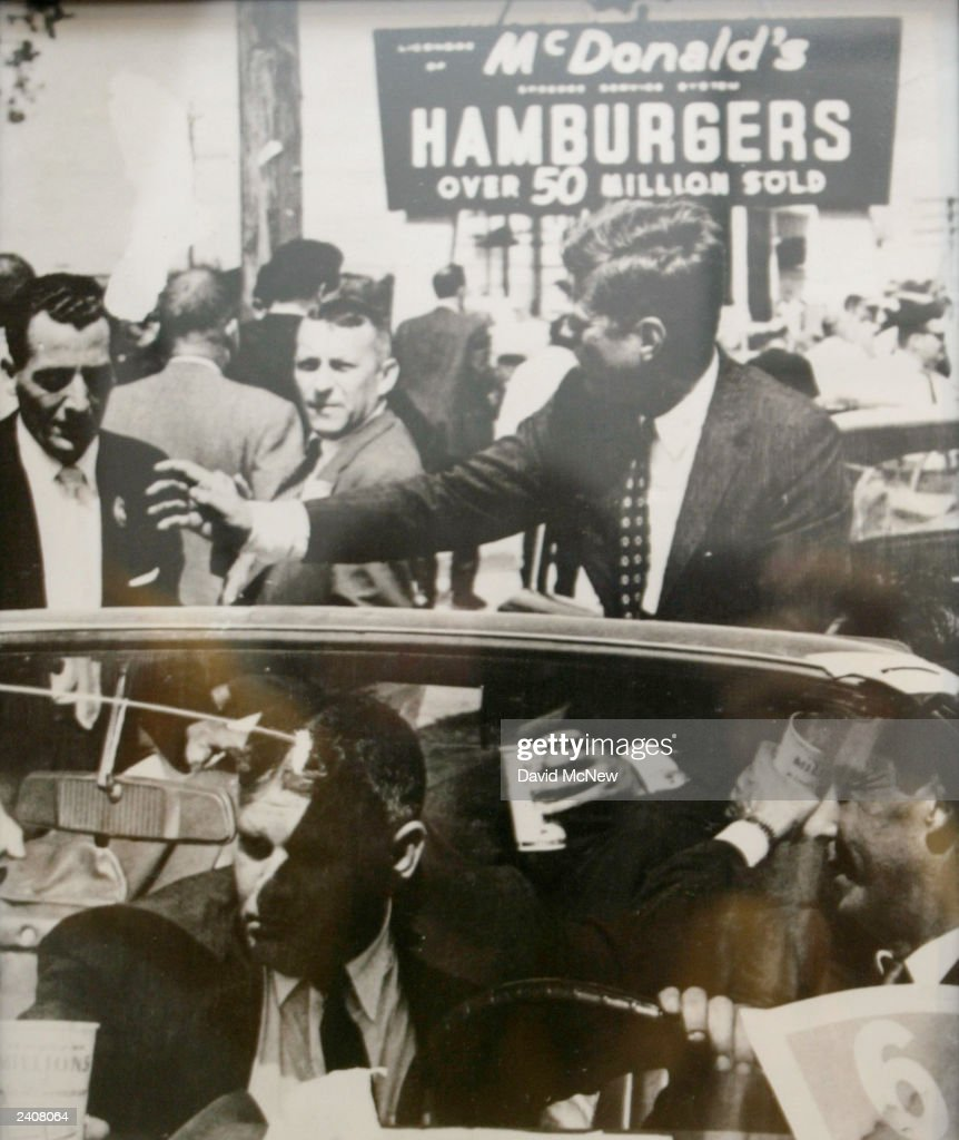 A photograph of U.S. President John F. Kennedy at a McDonalds restaurant hangs on a wall at the world's oldest-operating McDonald's fast food restaurant on its 50-year anniversary on August 18, 2003 in Downey, California. This 'Speedee' McDonald's, so named for the original chef logo, was the third restaurant built by the McDonald brothers Dick and Maurice and is a national landmark.