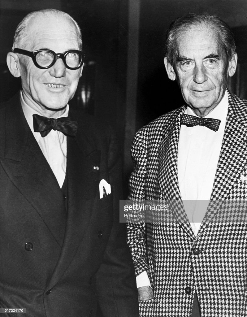 photograph of walter gropius and le corbusier while both attended a meeting of the building