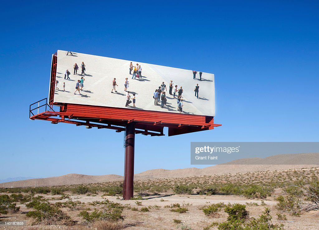 Photograph on billboard (digital composite). : Stock Photo