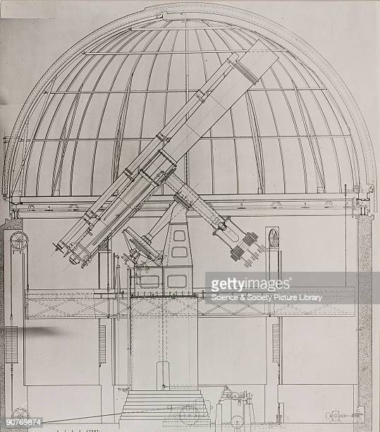 Photograph showing a crosssection drawing of the observatory building and the 41 inch refracting telescope ordered by the Russian government for its...