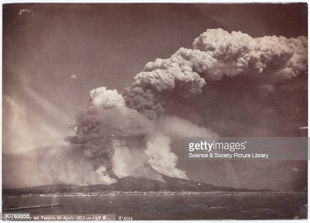 Photograph showing a massive plume of dust and ash ejected from the cone of Vesuvius on the Bay of Naples Italy Vesuvius is best known for its...