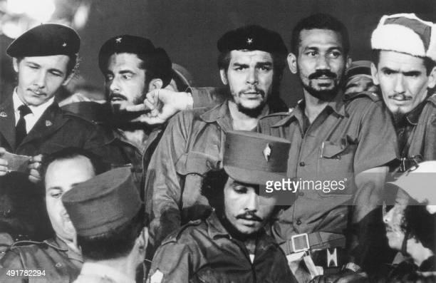 A 1959 photograph showing Commanders Raul Castro Antonio Nunez Jimenez Ernesto 'Che' Guevara Juan Almeida and Ramiro Valdes in Havana during the...