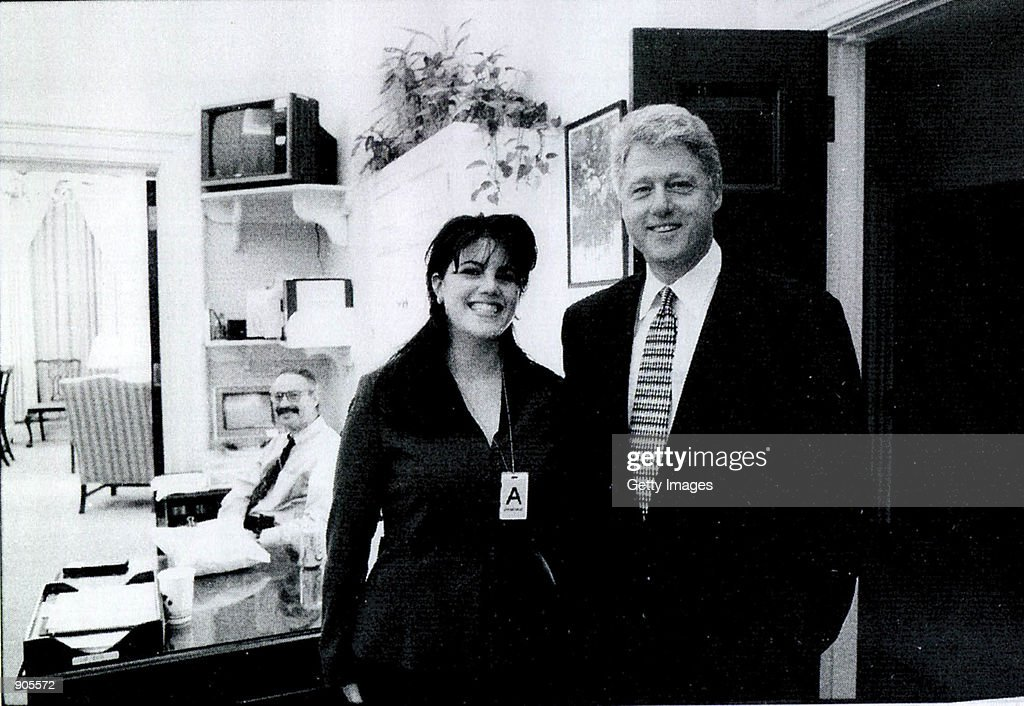 A photograph showing former White House intern <a gi-track='captionPersonalityLinkClicked' href=/galleries/search?phrase=Monica+Lewinsky&family=editorial&specificpeople=118612 ng-click='$event.stopPropagation()'>Monica Lewinsky</a> meeting President <a gi-track='captionPersonalityLinkClicked' href=/galleries/search?phrase=Bill+Clinton&family=editorial&specificpeople=67203 ng-click='$event.stopPropagation()'>Bill Clinton</a> at a White House function submitted as evidence in documents by the Starr investigation and released by the House Judicary committee September 21, 1998.