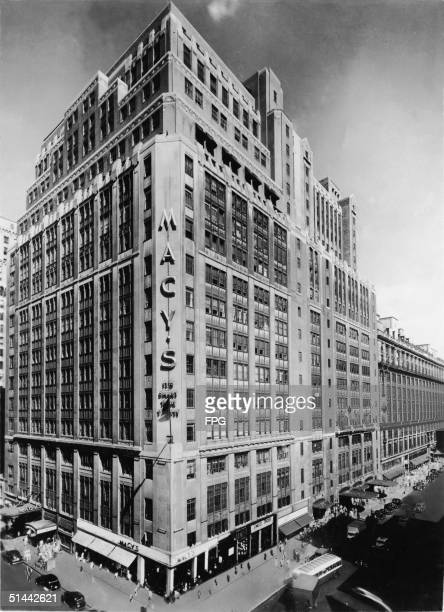 Photograph shows a corner view of the 1924 addition to the Macy's department store building on 34th Street at Herald Square in Manhattan New York...