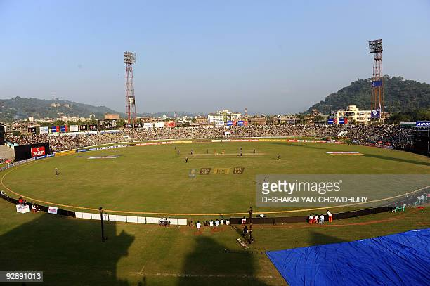 Photograph shows the view of the stadium during the sixth One Day International match between India and Australia at The Nehru Stadium in Guwahati on...
