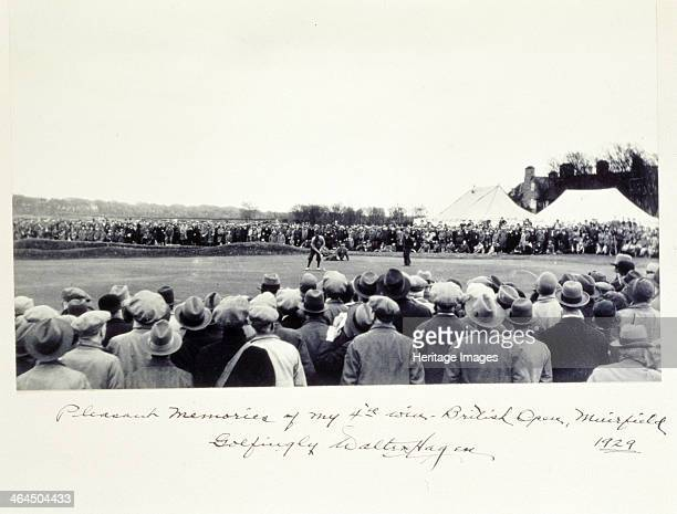 Photograph signed by American golfer Walter Hagen 1929 The inscription beneath the picture reads Pleasant memories of my 4th win British Open...