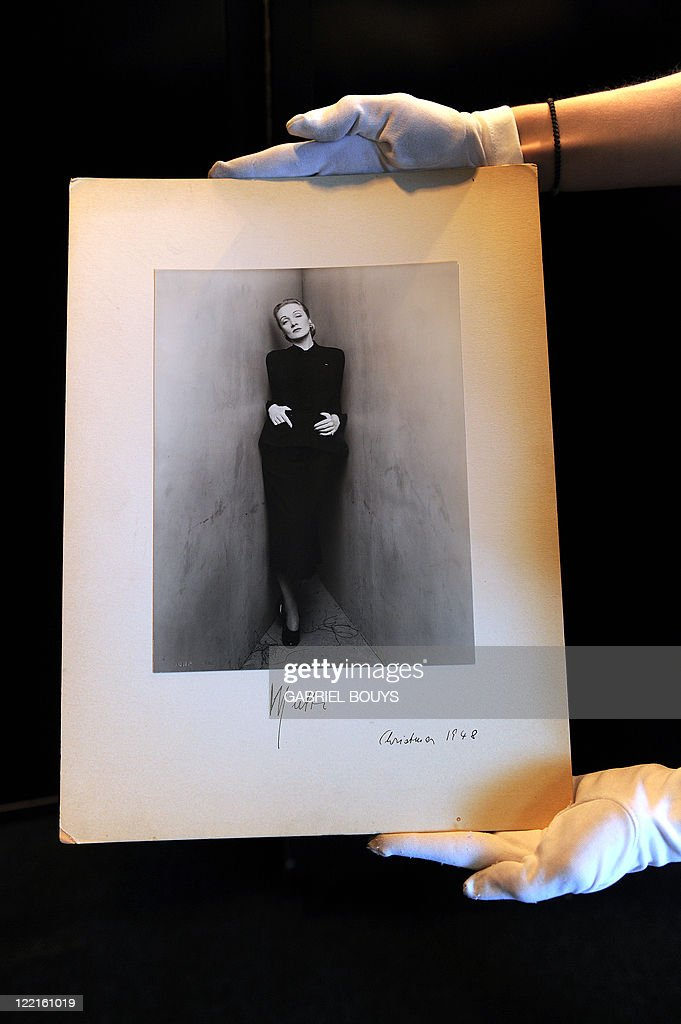A photograph signed by Marlene Dietrich in 1948 is on display in Beverly Hills, California on April 26, 2011. Dresses of Lady Diana and items of others legendary actors will be on sale at Julien's Auctions next May 7 and 8, 2011.