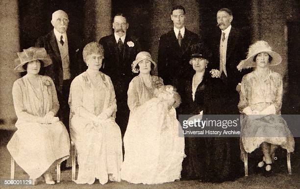 Photograph taken during the Christening of Princess Elizabeth Alexander Mary Back row Duke of Connaught HM King George V Duke of York Earl of...