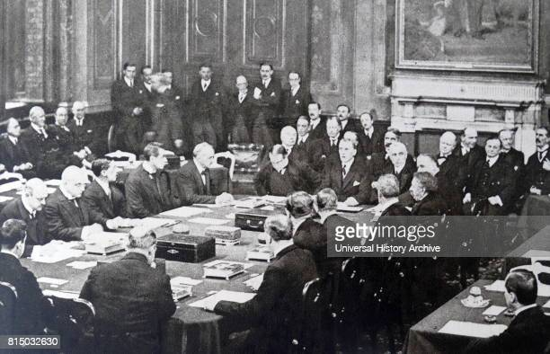 Photograph taken during the formal signing of the Locarno Treaties in London in which the First World War Western European Allied powers and the new...