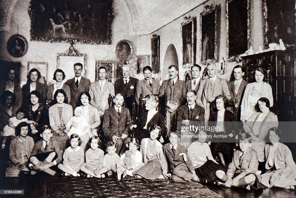 Photograph taken during the golden wedding celebrations of the Earl and Countess of Strathmore at Glamis Castle Scotland Dated 20th Century